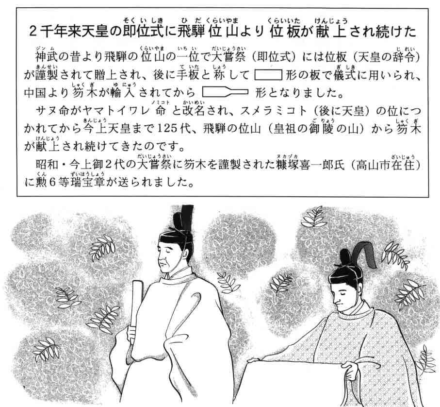 2千年来天皇の即位式に飛騨位山より位板が献上され続けた
